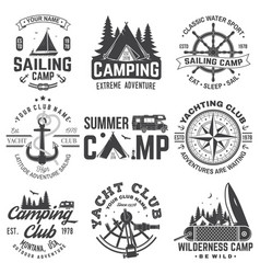 set summer camp and sailing badges vector image