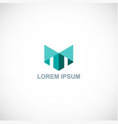 Shape building letter t company logo vector