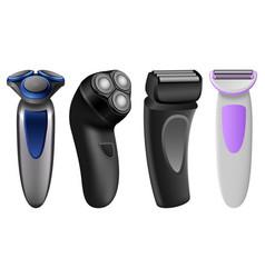 shaver razor electric mockup set realistic style vector image
