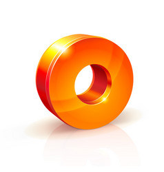 Shiny orange red 3d number 0 vector