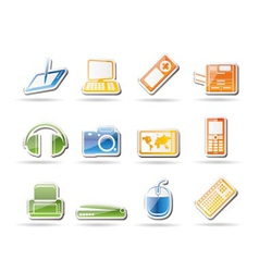 simple hi-tech technical equipment icons vector image