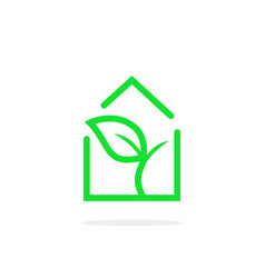 simple linear greenhouse logo vector image vector image