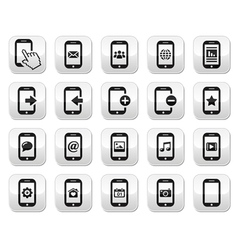 Smartphone mobile or cell phone buttons set vector image