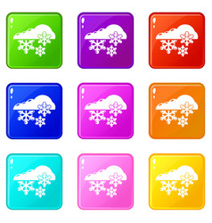 snowflake icons set 9 color collection vector image
