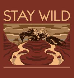 stay wild hand drawn landscape desert vector image