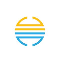 sun and sea stripes line simple logo vector image