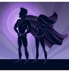Superhero Couple Silhouettes vector image