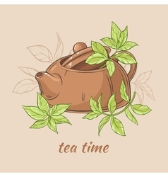 Teapot and tea leaves vector