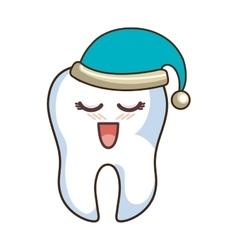 Teeth funny character with sleep hat kawaii style vector