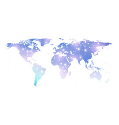 Template world map with global technology vector