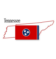 tennessee state map and flag vector image