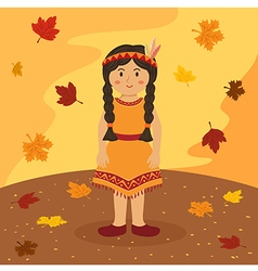 Thanksgiving Native Indian Braid Girl vector image