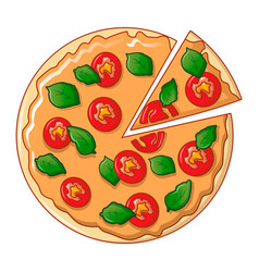 top view pizza icon cartoon style vector image