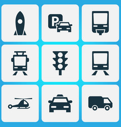 Transport icons set collection of railway vector
