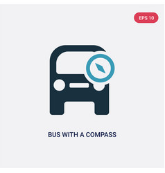 two color bus with a compass icon from vector image