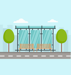 urban bus station concept banner flat style vector image