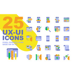 ux ui application flat icons set base on 64px vector image