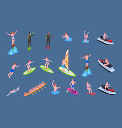water sports isometric icon set vector image