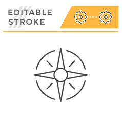 wind rose editable stroke line icon vector image