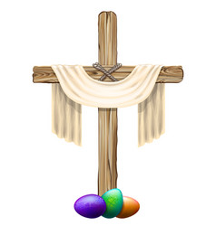 Wooden cross with a cloth and colored eggs vector