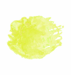 yellow watercolor stain isolated on white vector image
