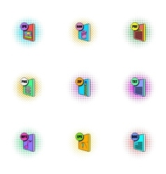 Document types icons set pop-art style vector image vector image
