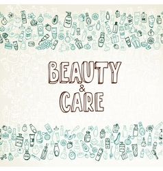 doodle cosmetics and self-care background vector image vector image