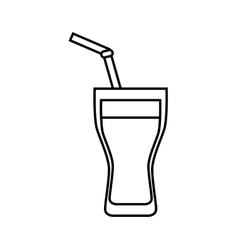 Glass and straw icon soda and drink design vector