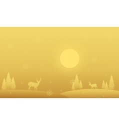 Silhouette of spruce and deer winter Christmas vector image