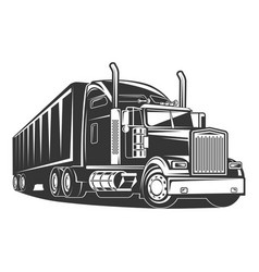 american truck trailer black and white vector image