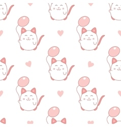 Cute seamless pattern with cat and balloon vector image vector image