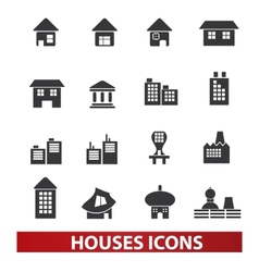 houses building icons set vector image