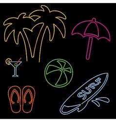 Neon Beach Icons vector image vector image