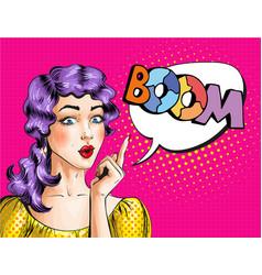 pop art of woman showing boom vector image vector image