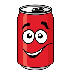 Red cartoon soda or soft drink can vector image