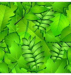 Seamless with green spring leaves vector