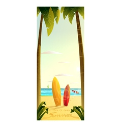 sunny summer beach Surfing 2D vector image