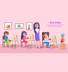arts class at elementary school poster vector image