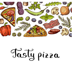 cooking pizza background with place for vector image