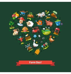 Heart composition of modern flat design farm and vector image