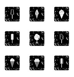 Ice cream icons set grunge style vector