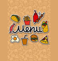 menu cover fast food vector image vector image