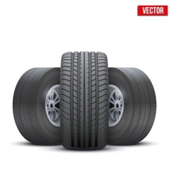 Realistic wheels and tire concept vector image vector image