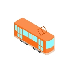 Red tram icon isometric 3d style vector image