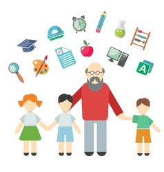 Teacher and children miscellaneous student in vector