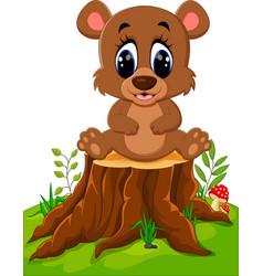 cartoon bear sitting on tree stump vector image