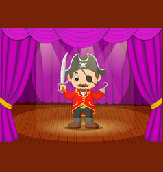 cute little boy wearing pirate costume on stage vector image vector image