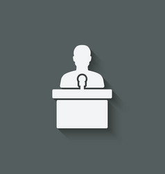 man on podium with microphone vector image vector image
