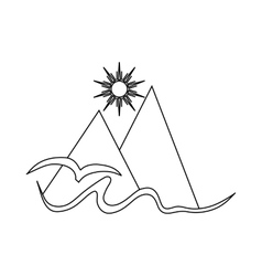 Mountain sunand sea icon in outline style vector image