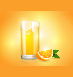 refreshing orange background with glass and slice vector image